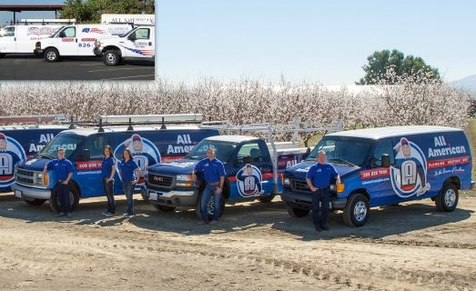 Before & after retro themed fleet branding integrated on this wrap design for this California heating and air contractor.