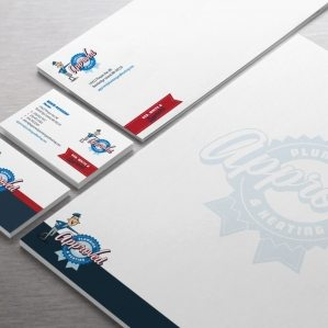 Stationery design for a plumbing and heating company based in Washington.