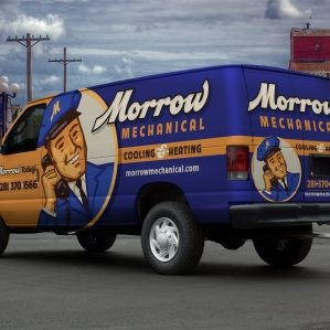Retro vehicle wrap design for a cooling & heating company based in Texas.