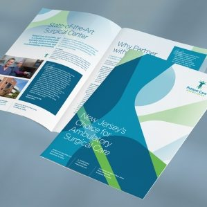 Brochure design for Patient Care Associates surgical center in Engelwood, New Jersey.