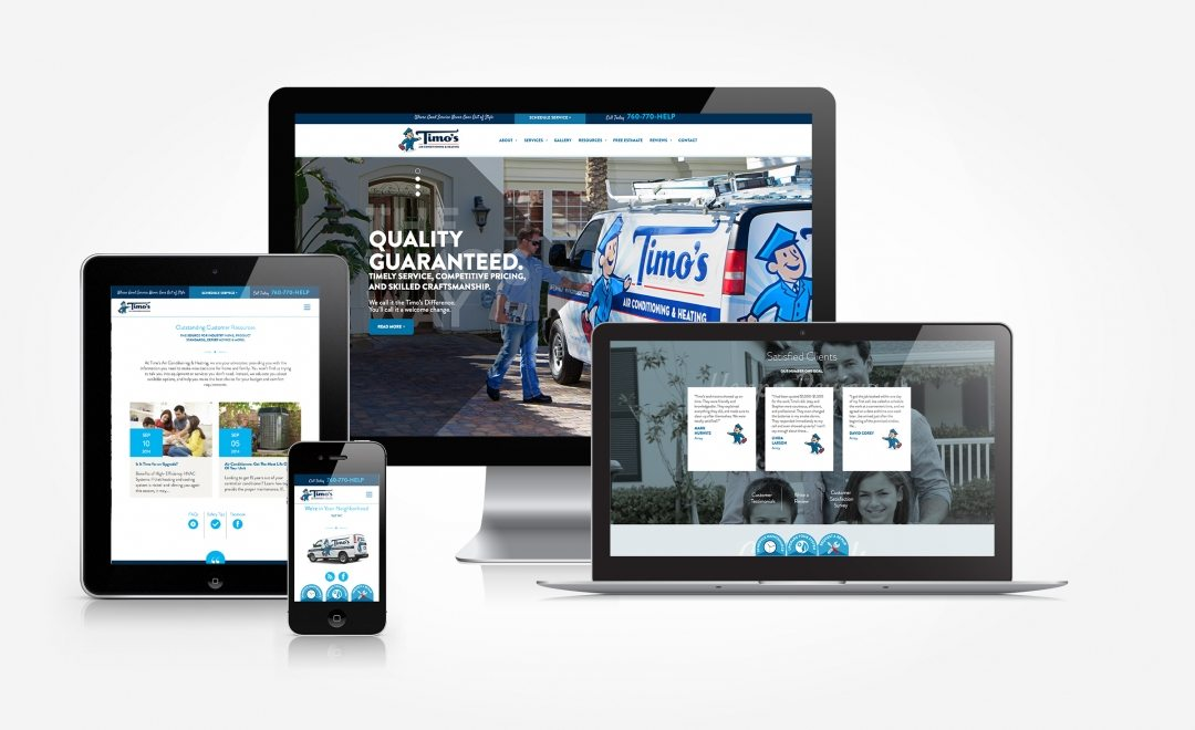Streamlined and easy to use, Timo's Air Conditioning & Heating's responsive website offers speed and style.