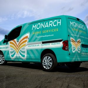 Vehicle wrap design for Monarch Home Services in California. The best vehicle wraps use easy-to-read graphics and a great logo to communicate a memorable brand.