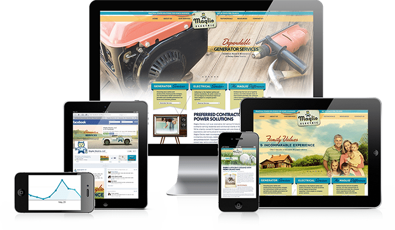 Maglio Electric's responsive website design enhances a user's viewing experience—from easy-to-use navigation and simplistic and useful design, to adaptive orientation and lightning-fast loading speeds.