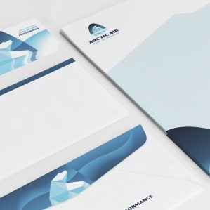 Stationery design for Arctic Air, an HVAC contractor based in Lancaster, CA.